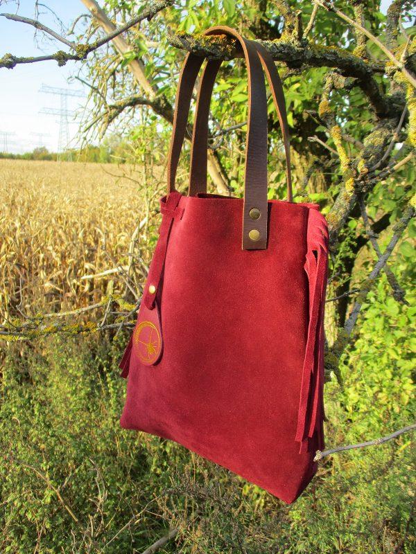 Handtasche handbag Fransen Hippie Boheme Seventies weinrot bordeaux Rindsleder Wildleder