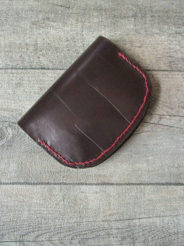 Portemonnaie für Hosentasche Olov 105x80mm geöffnet170mm Schafnappaleder braun weinrot - Ledertaschenmanufaktur