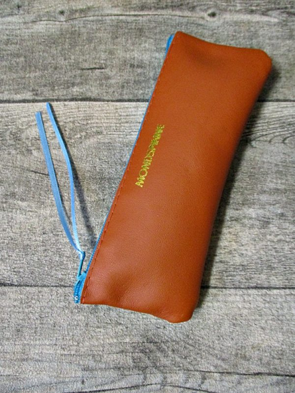 Federmäppchen Federtasche Ledertasche gelbbraun-türkis flach 16x6 cm - Ledertaschenmanufaktur