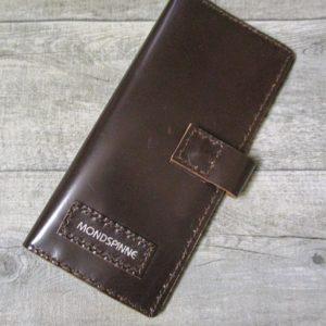 Kreditkartenetui Geldscheinetui Bente 20x10 cm Magnetverschluss Kalbsleder Rindsleder dunkelbraun - Ledertaschenmanufaktur