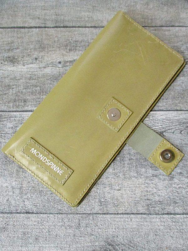 Kreditkartenetui Geldscheinetui Bente 20x10 cm Magnetverschluss Kalbsleder Rindsleder olivbraun - Ledertaschenmanufaktur