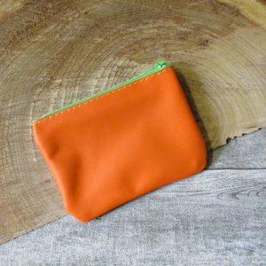 Mini-Börse Portemonnaie orange grün Reißverschluss Leder - Ledertaschenmanufaktur