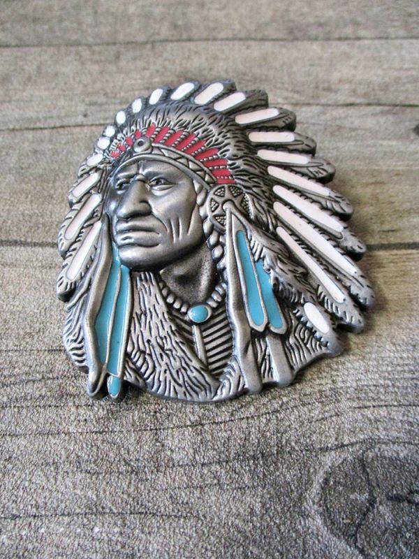 Gürtelschnalle Metallschieße Buckle silber schwarz Metall oval Indianer Häuptling - LTM