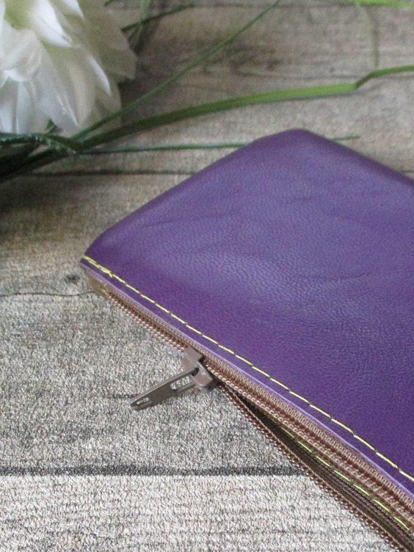 Mini-Portemonnaie lila violett braun gelb Ziegenleder