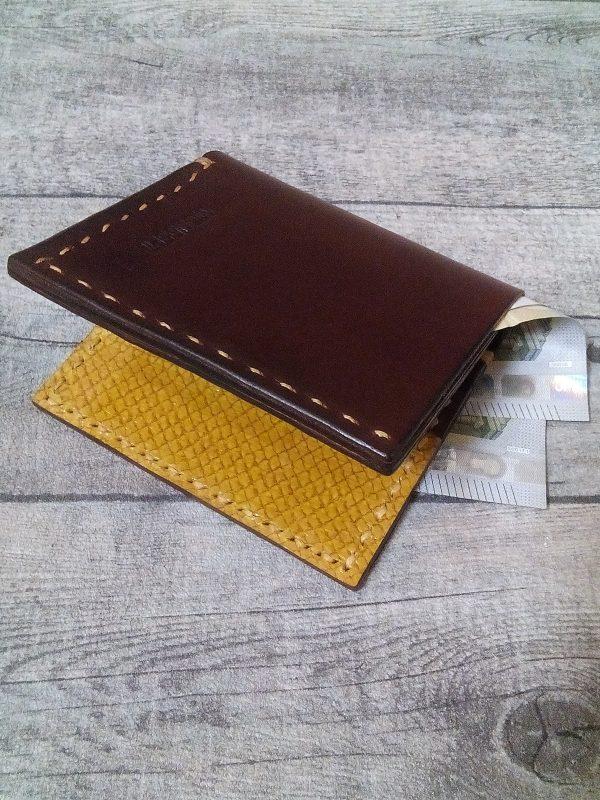 Kreditkartenetui Geldscheinetui Diktus braun-gelb Rindsleder Lachsleder - LTM12